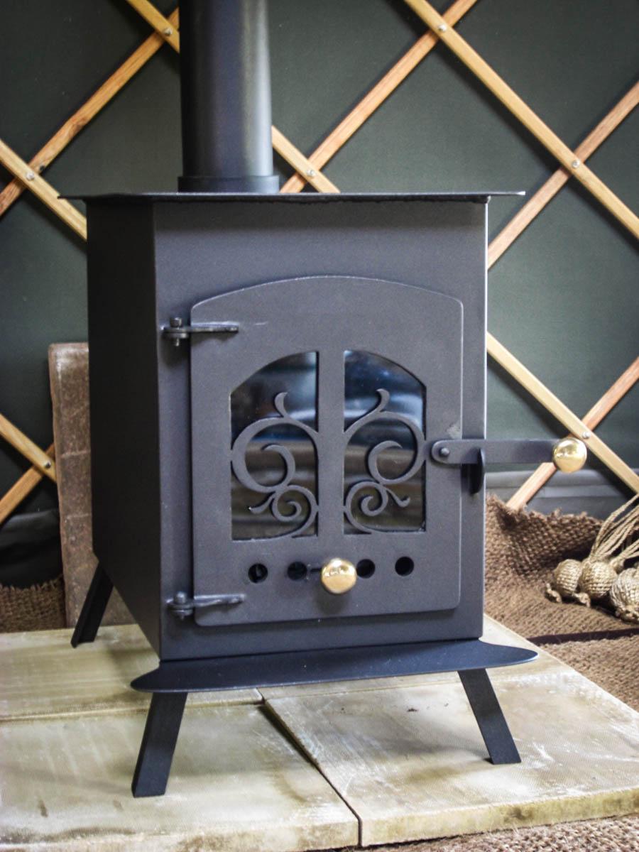 Hearthworks yurt wood stove woodburner